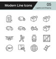 logistics and shipping icons modern line design vector image vector image