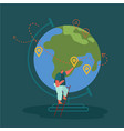 man character on adventure tourism standing vector image