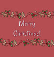 merry christmas holly and ginger cookies postcard vector image vector image