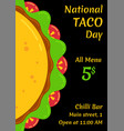 mexican fast food for national taco day festival vector image vector image