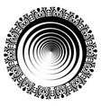 mix of mandala and guilloche in black and white vector image vector image