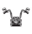 monochrome classic motorcycle front view concept vector image vector image