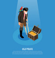 old pirate isometric composition vector image