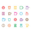 outline colorful set cafe icon modern concept vector image
