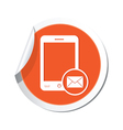 phone mail icon orange sticker vector image vector image