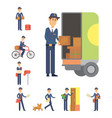 postman delivery man character courier vector image vector image