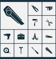 repair icons set with tape measure screwdriver vector image vector image