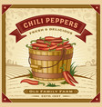 retro chili pepper harvest label with landscape vector image vector image