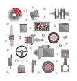 set auto spare parts isolated on white vector image vector image