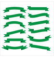 Set of beautiful festive green ribbons vector image vector image