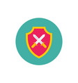 shield with swords - concept colored icon in flat vector image vector image