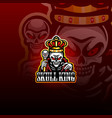 skull king esport mascot logo vector image