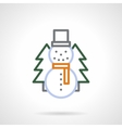 Snowman color line icon vector image vector image