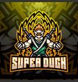 super duck esport mascot logo design vector image vector image
