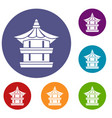 traditional korean pagoda icons set vector image vector image