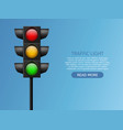 traffic light realistic led lights red yellow vector image