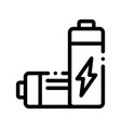 useless electric battery thin line icon vector image
