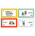 vikings landing page template set male characters vector image
