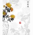 vintage japanese vase with chrysanthemum flowers vector image vector image