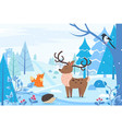 winter landscape with animals deer and fox urchin vector image vector image