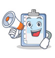 with megaphone clipboard character cartoon style vector image vector image