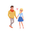 young man and blonde beautiful woman characters vector image vector image