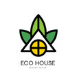 abstract linear logo of eco house clean vector image vector image