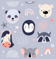 animal baby faces seamless pattern vector image
