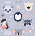 animal bafaces seamless pattern vector image