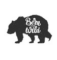 born to be wild silhouette grizzly bear on vector image vector image