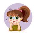 cartoon scared girl face emotion