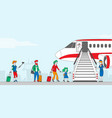 characters boarding on airplane people stand vector image