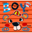 cute tiger boy head on striped background vector image vector image
