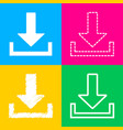 download sign four styles of icon on vector image