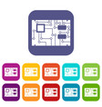 electronic board icons set flat vector image vector image