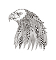 entangle stylized head eagle hand drawn doodle vector image vector image