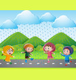 four kids running in the rain vector image
