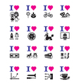 Funny love icon set vector image vector image