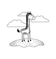 giraffe cartoon in outdoor scene with clouds in vector image vector image
