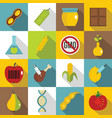 gmo icons set food flat style vector image vector image