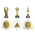 gold first place prizes set of cups and seals vector image vector image