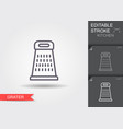 grater line icon with editable stroke with shadow vector image vector image