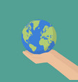 hand with earth globe vector image vector image