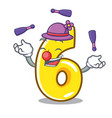 juggling number six isolated on the mascot vector image vector image