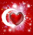 love turkey flag heart background vector image vector image
