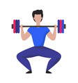 man lifting heavy weight barbell cartoon male vector image
