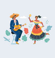 mexican woman and man play guitar and dancing vector image vector image