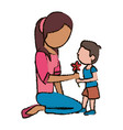 mother and son cute flower vector image vector image