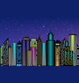 night city skyscrapers with neon glow vector image