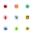 Outfit paintball icons set pop-art style vector image vector image